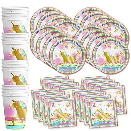 Amazon.com: Juego de servilletas con diseño de unicornio y ...