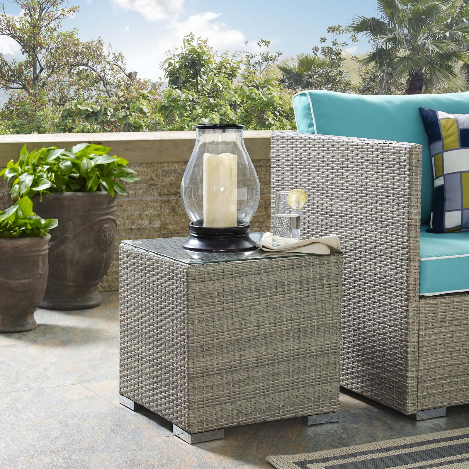 Modway EEI-2692-LGR Repose Outdoor Patio Side Table, Light Gray