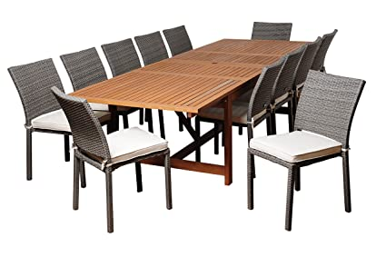 Charmant Amazonia Nixon 13 Piece Eucalyptus/Wicker Extendable Rectangular Dining Set  With Off White