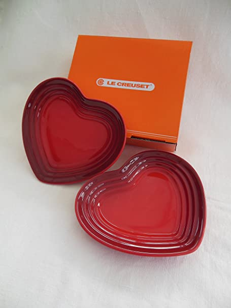 LE CREUSET SMALL HEART PLATE (SET OF 2) CERISE & LE CREUSET SMALL HEART PLATE (SET OF 2) CERISE: Amazon.co.uk ...