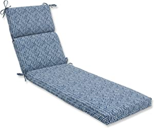 Pillow Perfect Outdoor/Indoor Herringbone Ink Chaise Lounge Cushion, 72.5