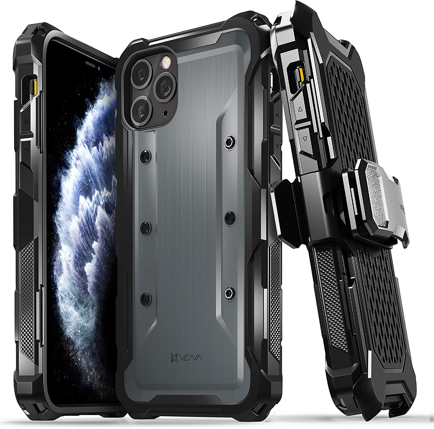 Amazon Com Vena Varmor Rugged Case Compatible With Apple Iphone 11 Pro Max 6 5 Inch 2019 Military Grade Drop Protection Heavy Duty Holster Belt Clip Cover With Kickstand Space Gray