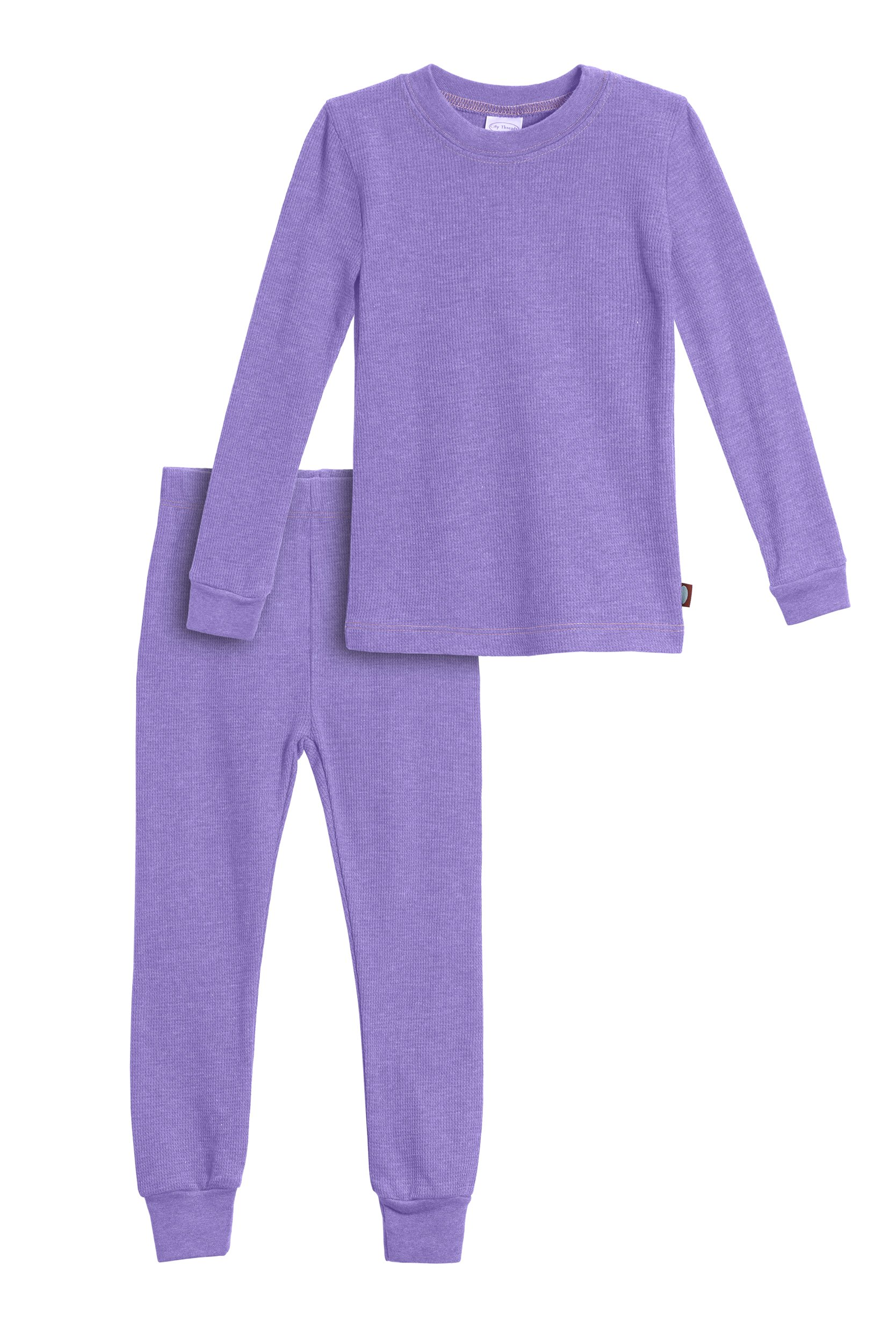 City Threads Little Girls Thermal Underwear Set Perfect for Sensitive Skin SPD Sensory Friendly, Deep Purple- 3T