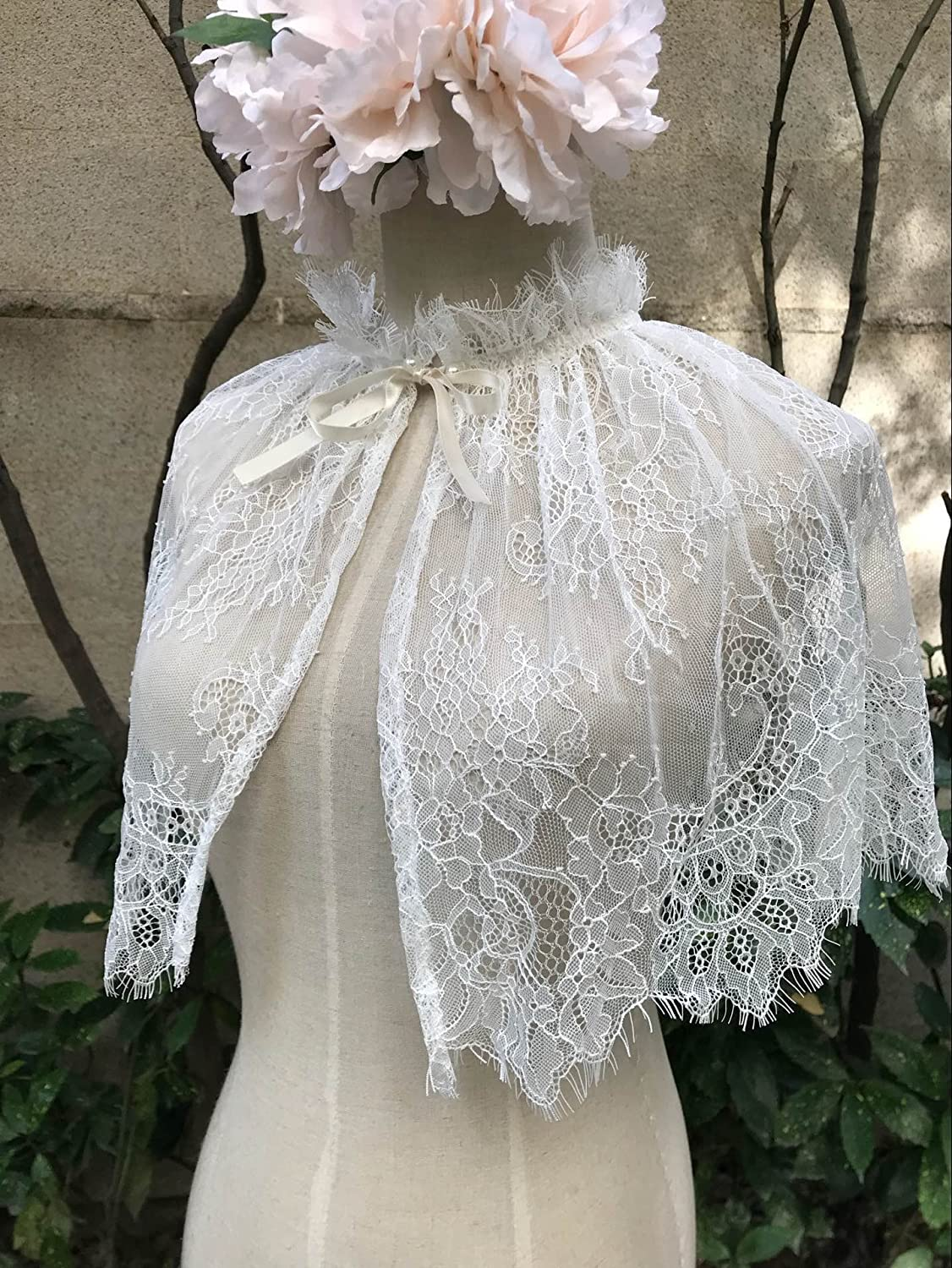 Victorian Capelet, Cape, Cloak, Shawl, Muff YuRong Bridal Lace capelet Tulle Lace Cape Cover Up for Strapless Wedding Dress C01a $14.99 AT vintagedancer.com
