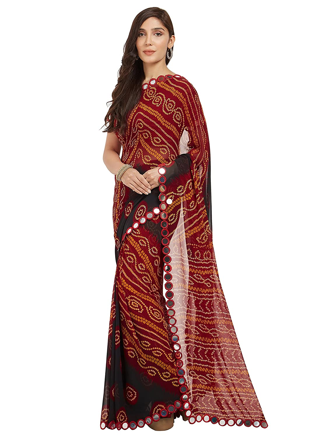 41b78f368e Amazon.com: Sourbh Women's Faux Georgette Bandhani Saree (7238_Red_ Free  Size): Clothing