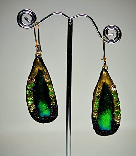 7c57d19e52574 Amazon.com: Real stingray skin leather dangle earrings. Swarovski ...