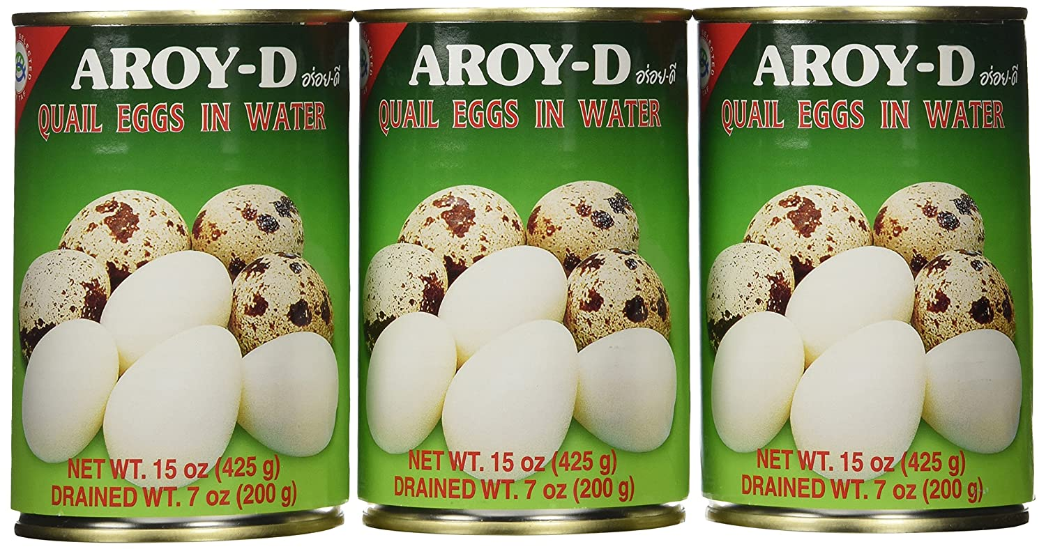 aroy d quail egg 15oz pack of 3 cans amazon com grocery