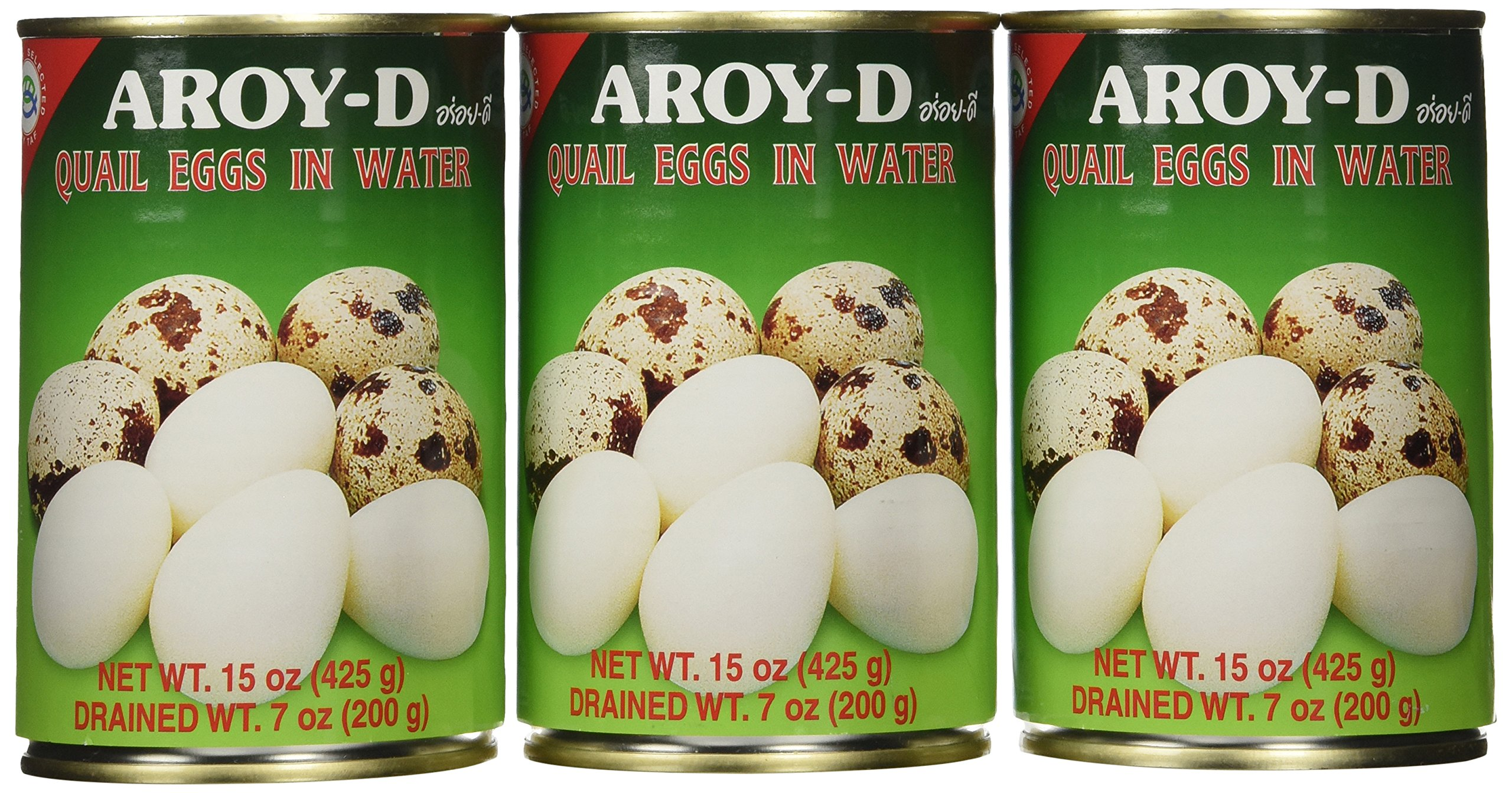 Aroy-D Quail Egg - 15oz (Pack of 3 Cans)