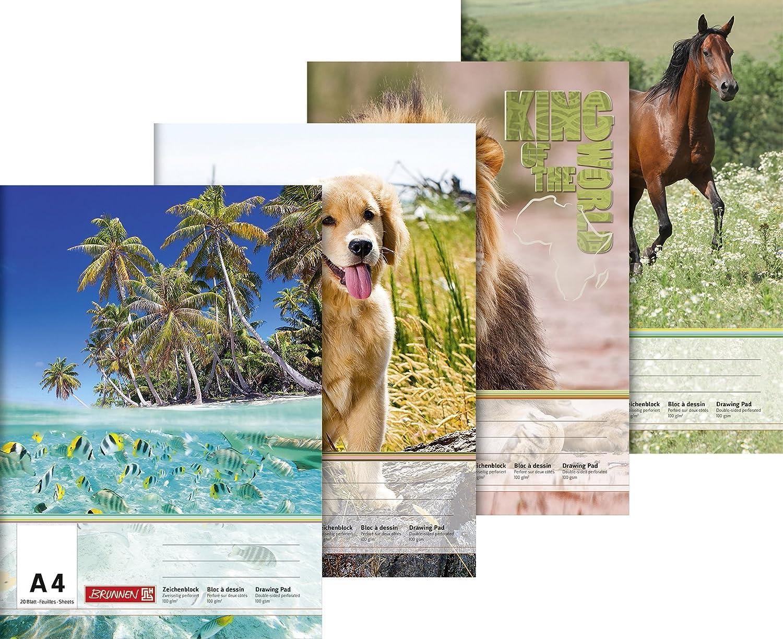 Brunnen 1047914 Zeichenblock (A4, 100 g/m², 20 Blatt) Tiermotive 100 g/m²