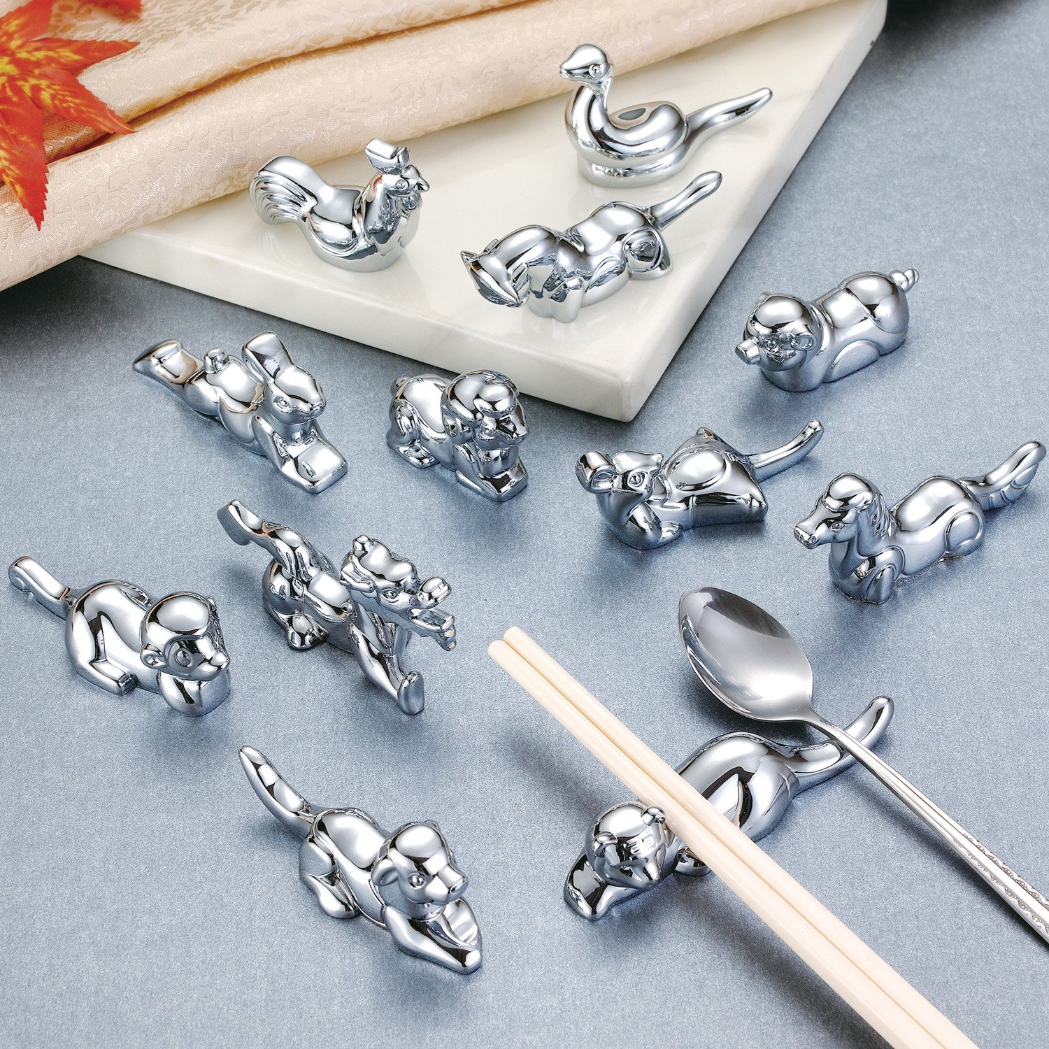 LIUNA Metal Chinese Zodiac Shape Stainless steel Chopstick Holder Rest Dinner Spoon Stand Fork and Knife Holder Animal Crafts Decorations (12 Pcs Chinese Zodiac) by LIU NA