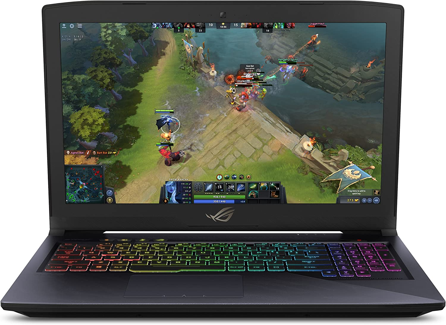 "Asus ROG Strix Hero Edition Gaming Laptop, 15.6"" IPS-Type Full HD, Intel Core i7-7700HQ Processor, GeForce GTX 1060 6GB, 16GB DDR4, 256GB M.2 SSD + 1TB Hybrid SSHD, RGB, Windows 10 Home – GL503VM-DB74"