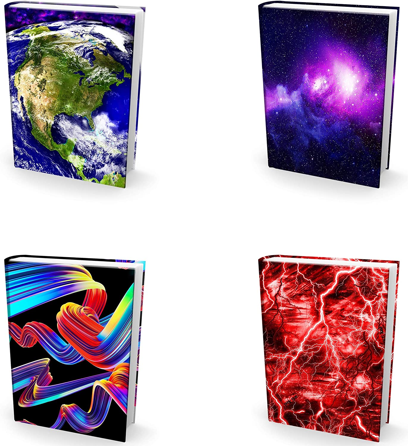 Easy Apply, Reusable Book Covers 4 Pk. Best Jumbo 9x11 Textbook Jackets for Back to School. Stretchable to Fit Most Large Hardcover Books. Perfect Fun, Washable Designs for Girls, Boys, Kids and Teens