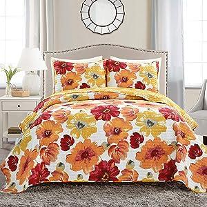 Lush Decor 16T005051 Leah Quilt Floral 3 Piece Reversible, King, Red & Orange