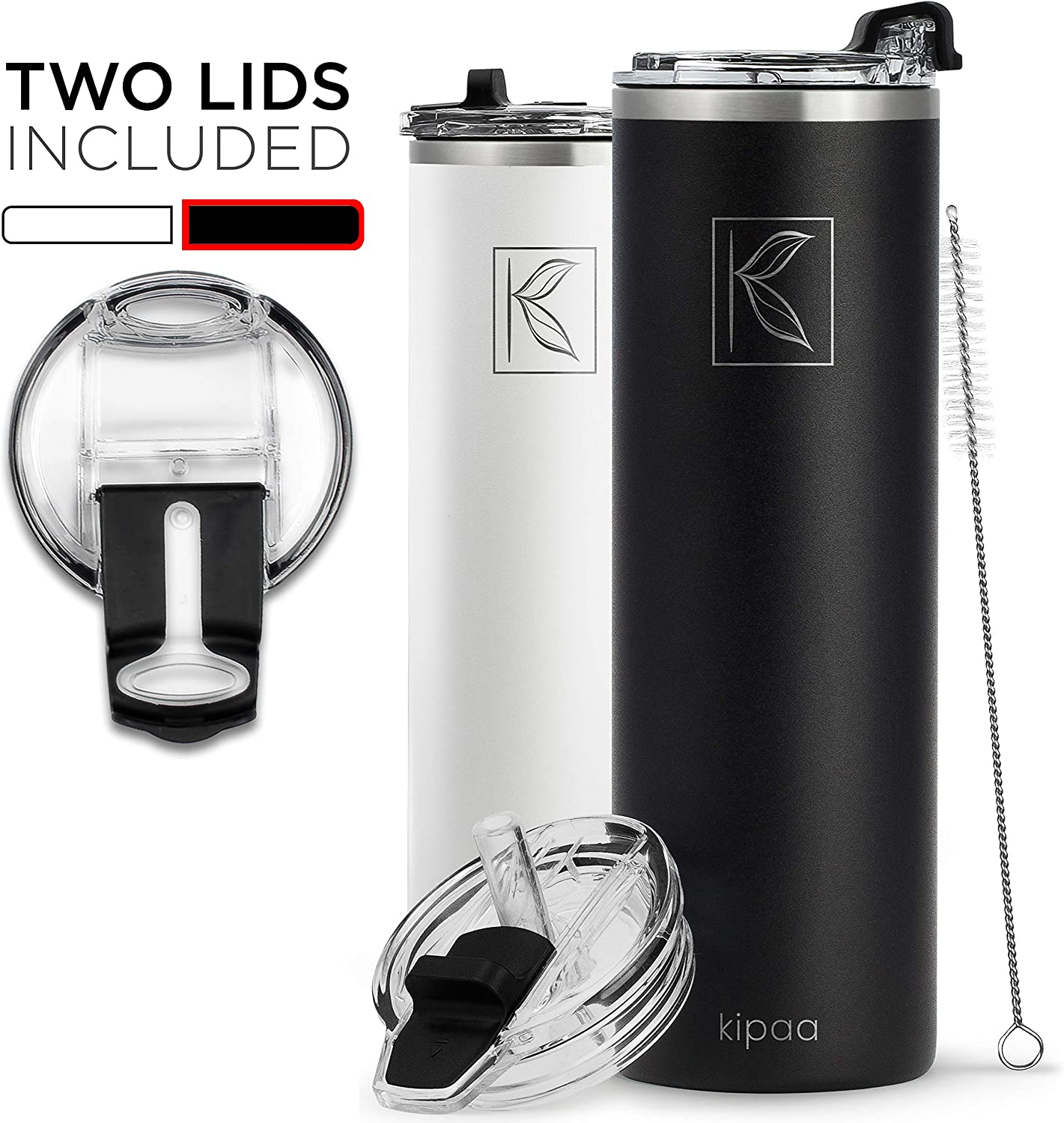 Kipaa Double Wall Insulated Vacuum Stainless Steel Skinny Tumbler - with 2 Lids, Straw, Cleaning Brush - Slim Bottle, Coffee Cup for Hot Cold Drink - Dishwasher Safe, Eco-Friendly, 18 Ounce, Black