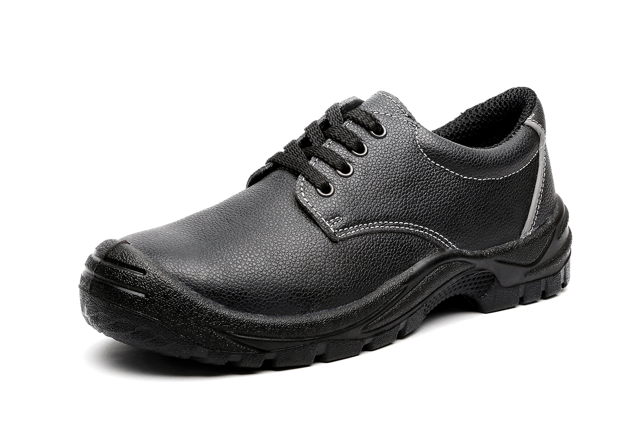 JACKBAGGIO Men's Steel Toe Steel Plate Leather Ultra-Cushioning Black Work Shoes (9)