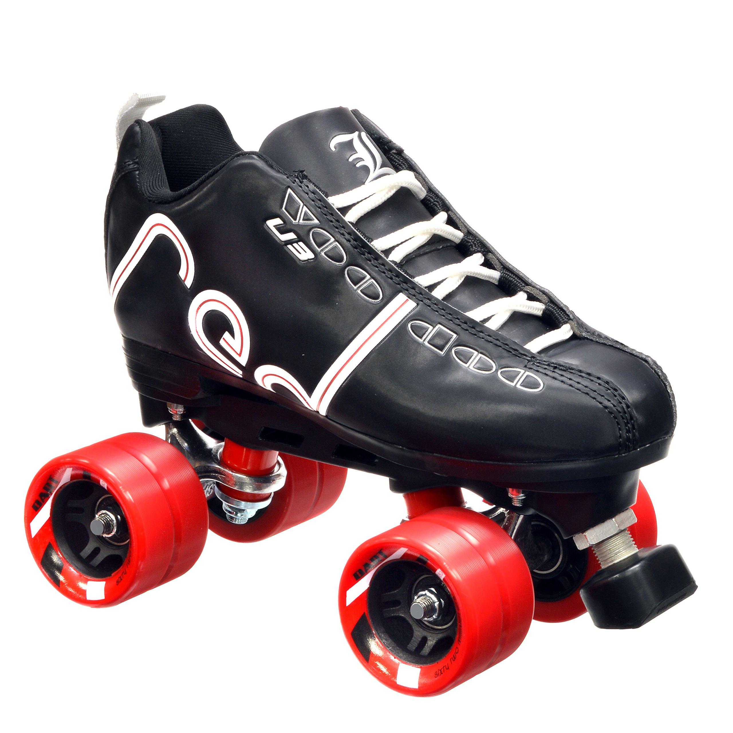 New! Labeda Voodoo U3 Quad Roller Speed Skates Customized Black w/ Red Dart Wheels! (Youth 4)