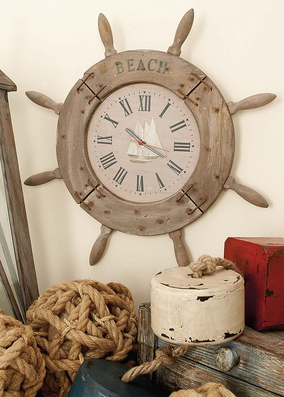 Welcome aboard boat ships life ring clock - Amazon Com Deco 79 Wood Ship Wheel Clock Nautical Maritime Decor 20 Inch Home Kitchen