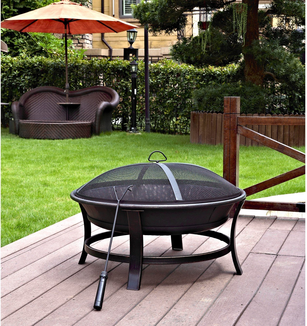 Jeco FP006 Windsor Outdoor, Multicolored - Made Of Sturdy Steel Construction Sturdy Four Leg Support For Fire Bowl To Provide Stability. Country Of Origin Is China - patio, outdoor-decor, fire-pits-outdoor-fireplaces - 91H3091bxUL -