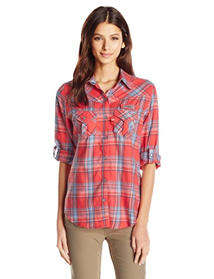 e117b0126b4943 Columbia Sportswear Women's Beadhead Flannel Long Sleeve Shirt, Hot Coral  Plaid, Small