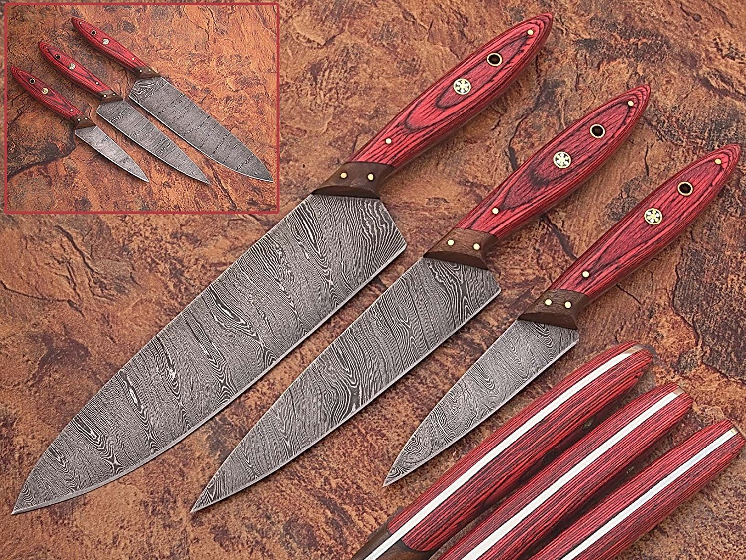 1046 Custom Made Damascus Steel Kitchen Chef Knife Set 3 Pcs Wood Handle by  GladiatorsGuild (Red Wood)