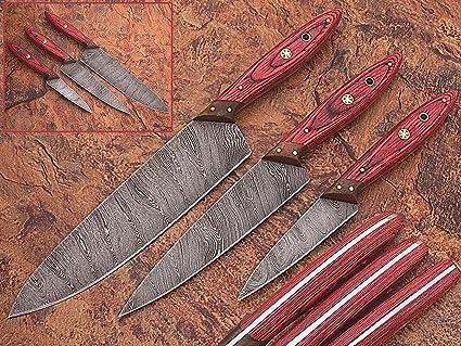 amazon com 1046 custom made damascus steel kitchen chef knife set 3