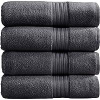 4-Pack Bath Towel Set. 100% Cotton Bathroom Towels. Absorbent Quick-Dry Plush Bath Towels. Cooper Collection. (Bath…