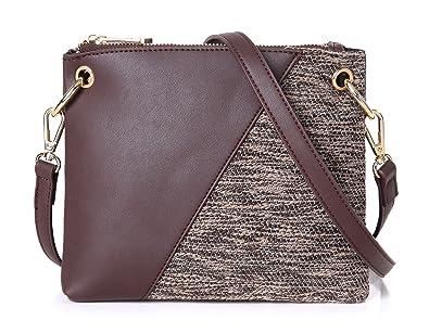 5fc8f974e371 Aitbags Double Zip Handbag Crossbody Bags for Women 2 Compartments  Messenger Purse with Adjustable Shoulder Strap