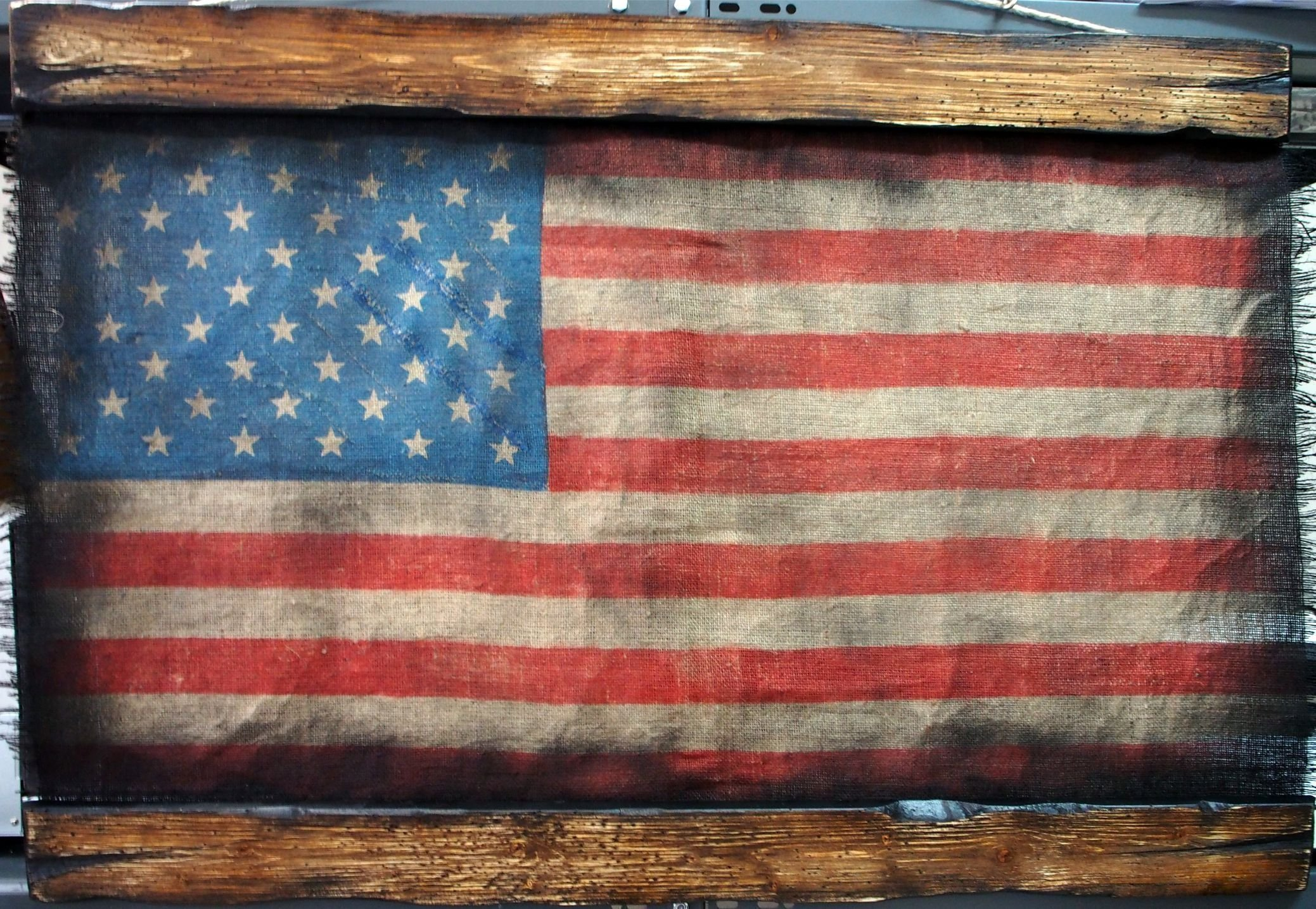 American Flag made of worn out burlap and wood | Rustic decor | American flag wall decor | Handmade flag, Personalized gift by Woodcraft City