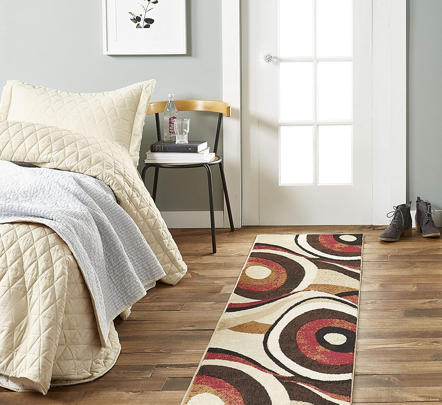 """Home Dynamix Tribeca Slade Modern Runner Rug, Abstract Brown/Red 1'9""""x7'2"""""""