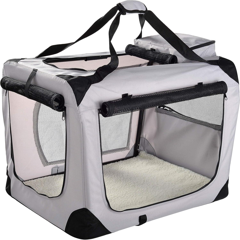 MOOL Caja de Transporte de Mascotas de Tela Ligera con Alfombrilla de Forro Polar y Bolsa de Alimentos