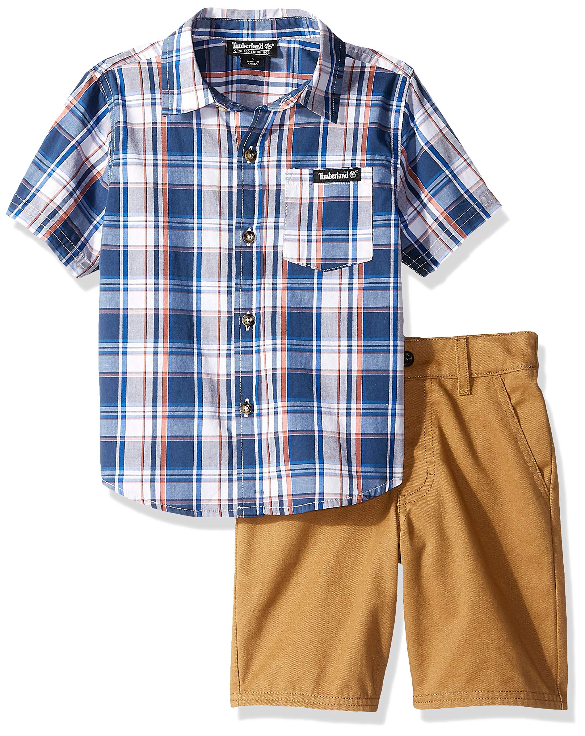 Timberland Boys' Little 2 Pieces Shirt Shorts Set, Blue Plaid/Khaki 4