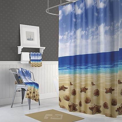 Fabric Beach Shower Curtain With Hooks Tropical Island Ocean Landscape Starfish Hawaiian Style For Bathroom