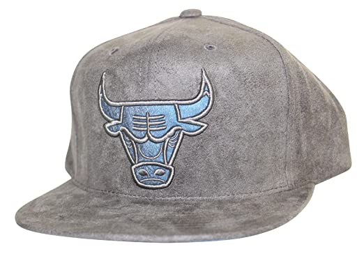 reputable site ffd36 f7175 ... purchase mitchell ness mens nba chicago bulls logo faux suede snapback  hat eb4ab fada0 ...