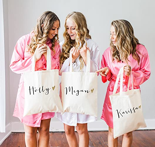 Amazon Personalized Glam Wedding Tote Bags For Bridal Party