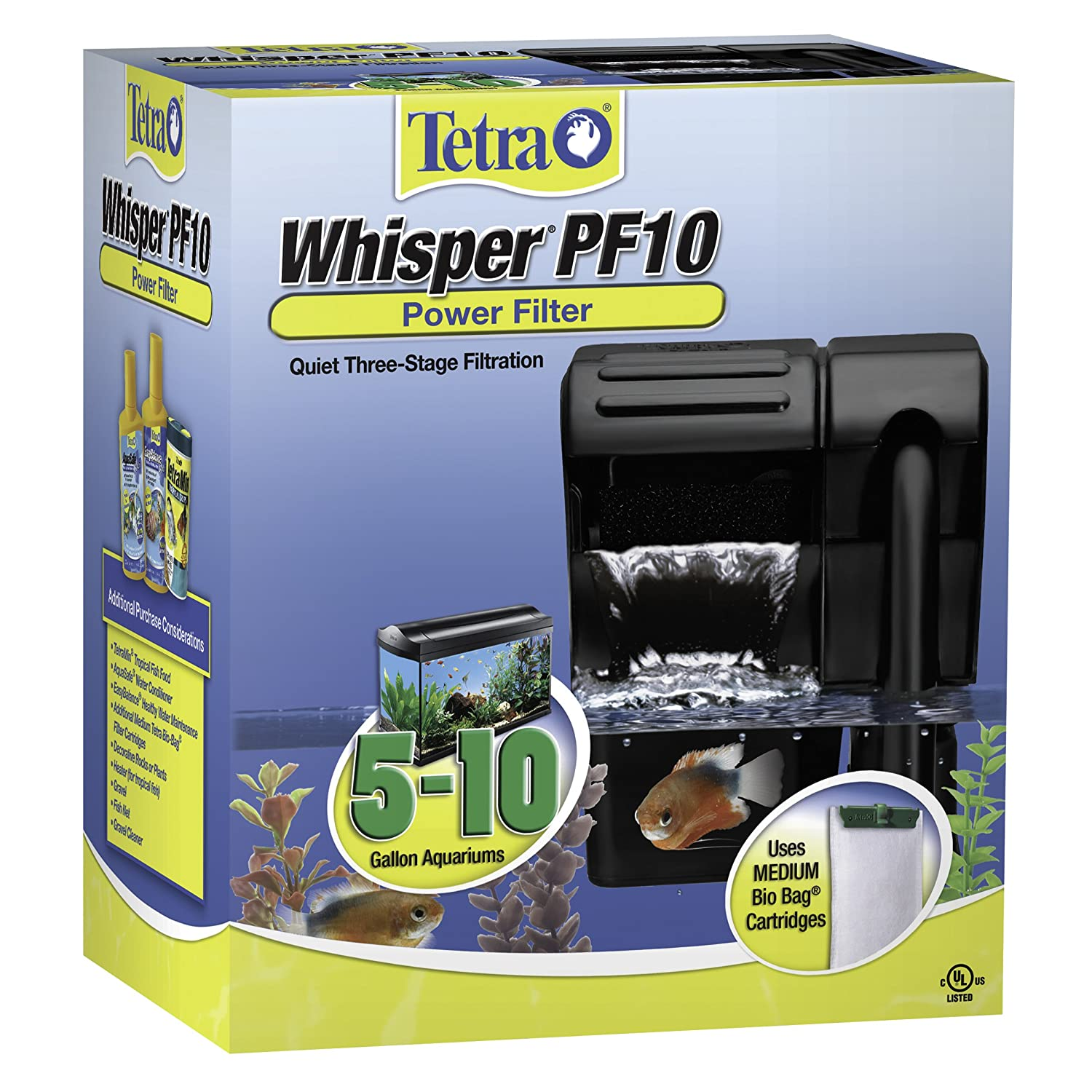 Amazon Tetra Whisper PF10 Power Filter Quiet Three Stage