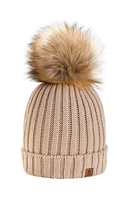 7586f9a4821a0c 4sold® Rita Girls Winter Hat Wool Knitted Beanie with Large Fur Pom Cap Ski  Snowboard