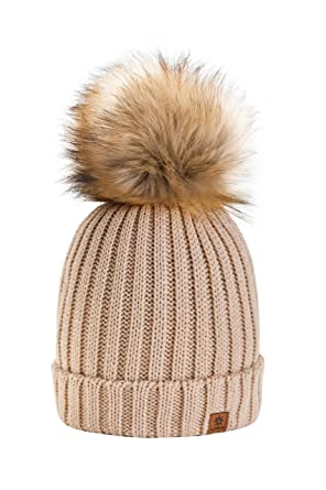 4sold Rita Womens Girls Winter Hat Wool Knitted Beanie with Large Pom Pom  Cap SKI Snowboard 0d90461a15cd