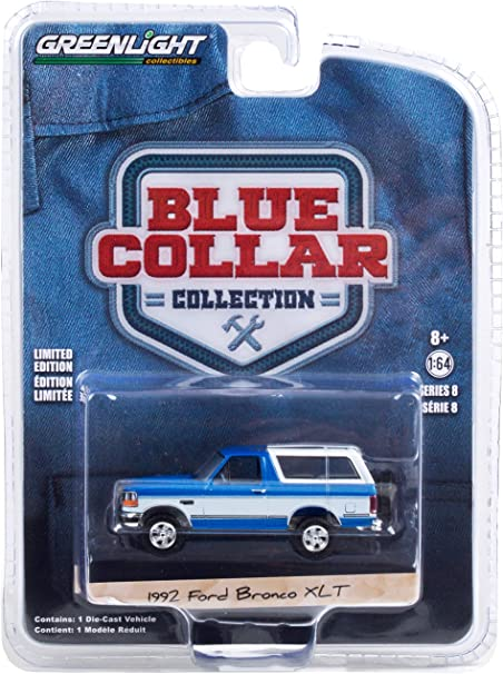 1992 Ford Bronco XLT Bright Regatta Blue and White Blue Collar Collection Series 8 1/64 Diecast Model Car by Greenlight 35180 F