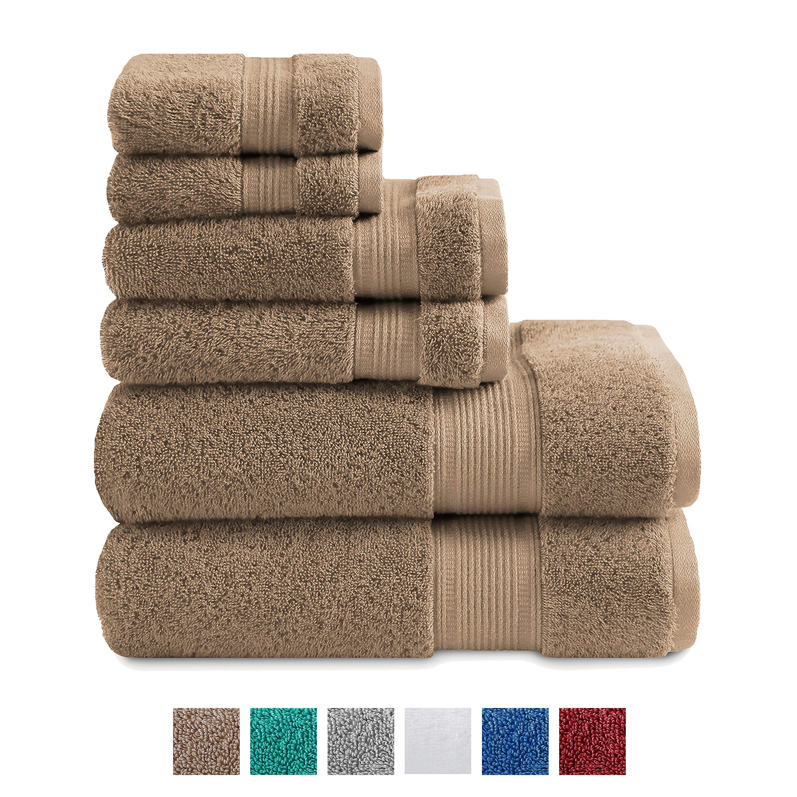 TRIDENT Large Bath Towels, 100% Cotton Feather Soft Towels, 6 Piece Set -2 Bath, 2 Hand, 2 Washcloths, Absorbent, Soft & Plush Bath Towels (New Acorn) by TRIDENT