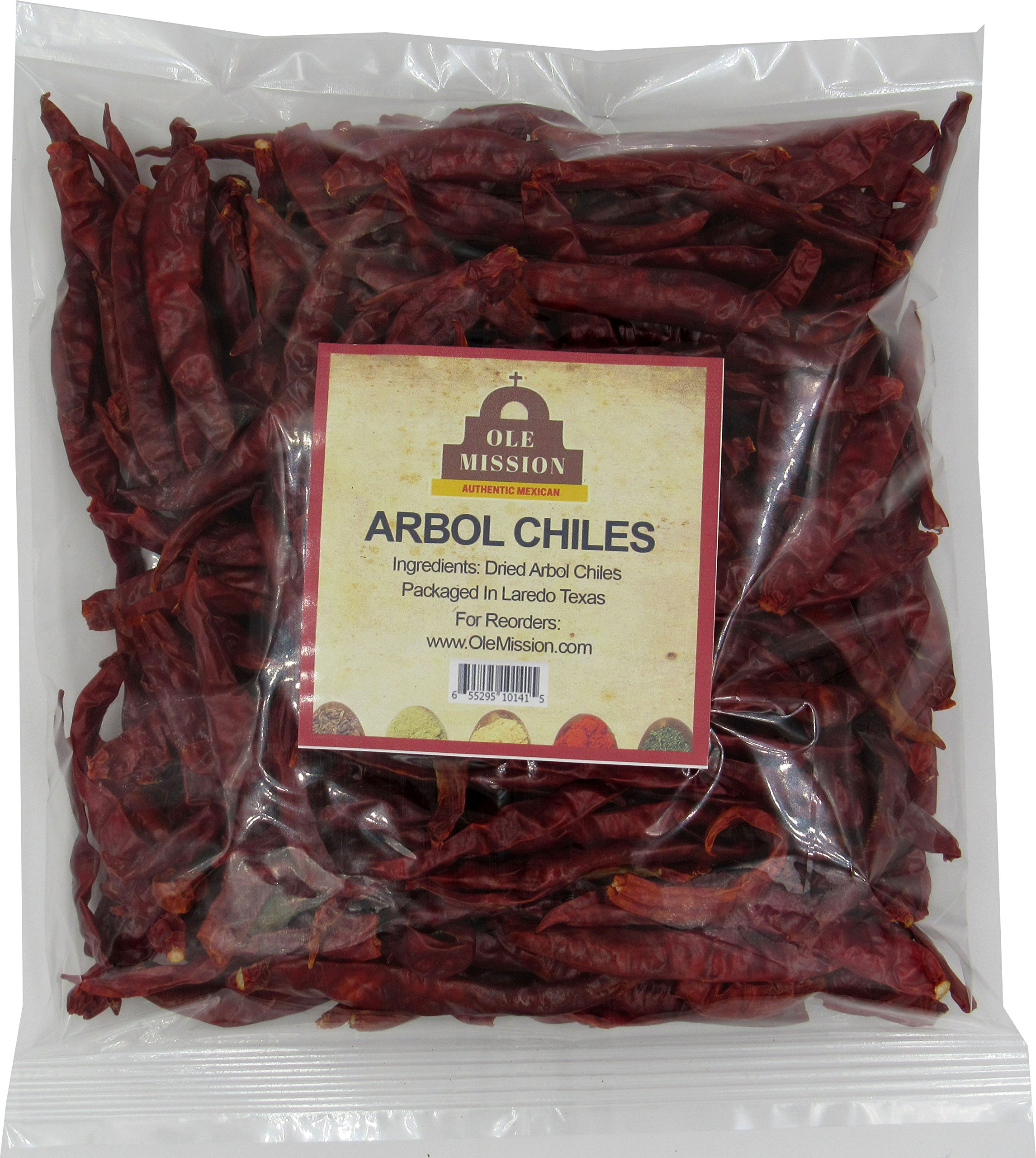 Arbol Chiles Bulk 1 lb - Chilis De Arbol Spicy Heat Natural Whole Dried Peppers For Mexican Recipes