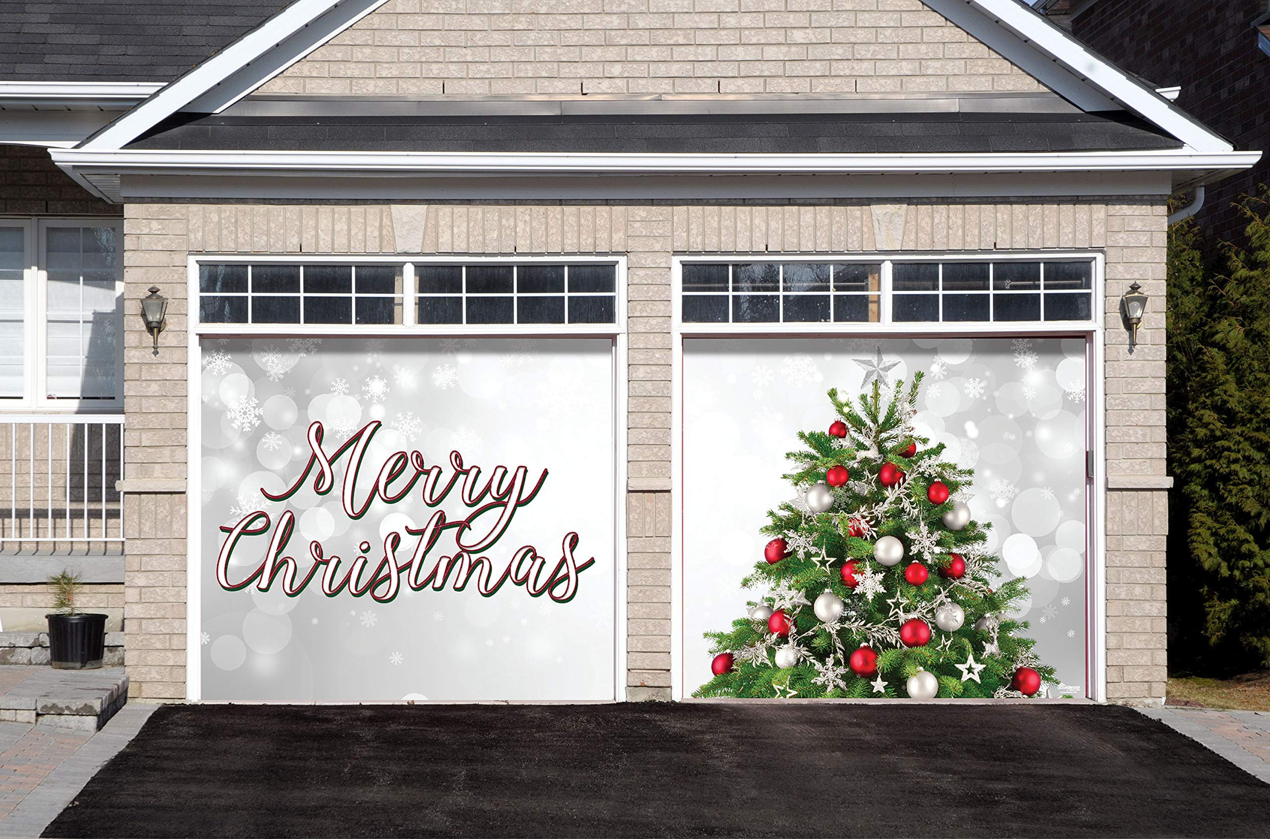 Victory Corps Merry Christmas Tree - Christmas Garage Door Banner Mural Sign Décor 7'x 8' Split Car Garage - The Original Holiday Garage Door Banner Decor