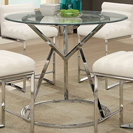 Furniture Of America Casey Contemporary Glass Top Chrome Round Counter  Height Table   Silver