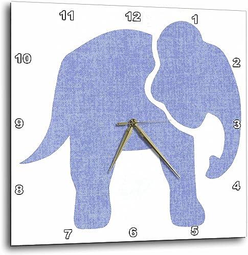 3dRose Big Blue Cloth Effect Elephant – Wall Clock, 15 by 15-Inch DPP_220827_3