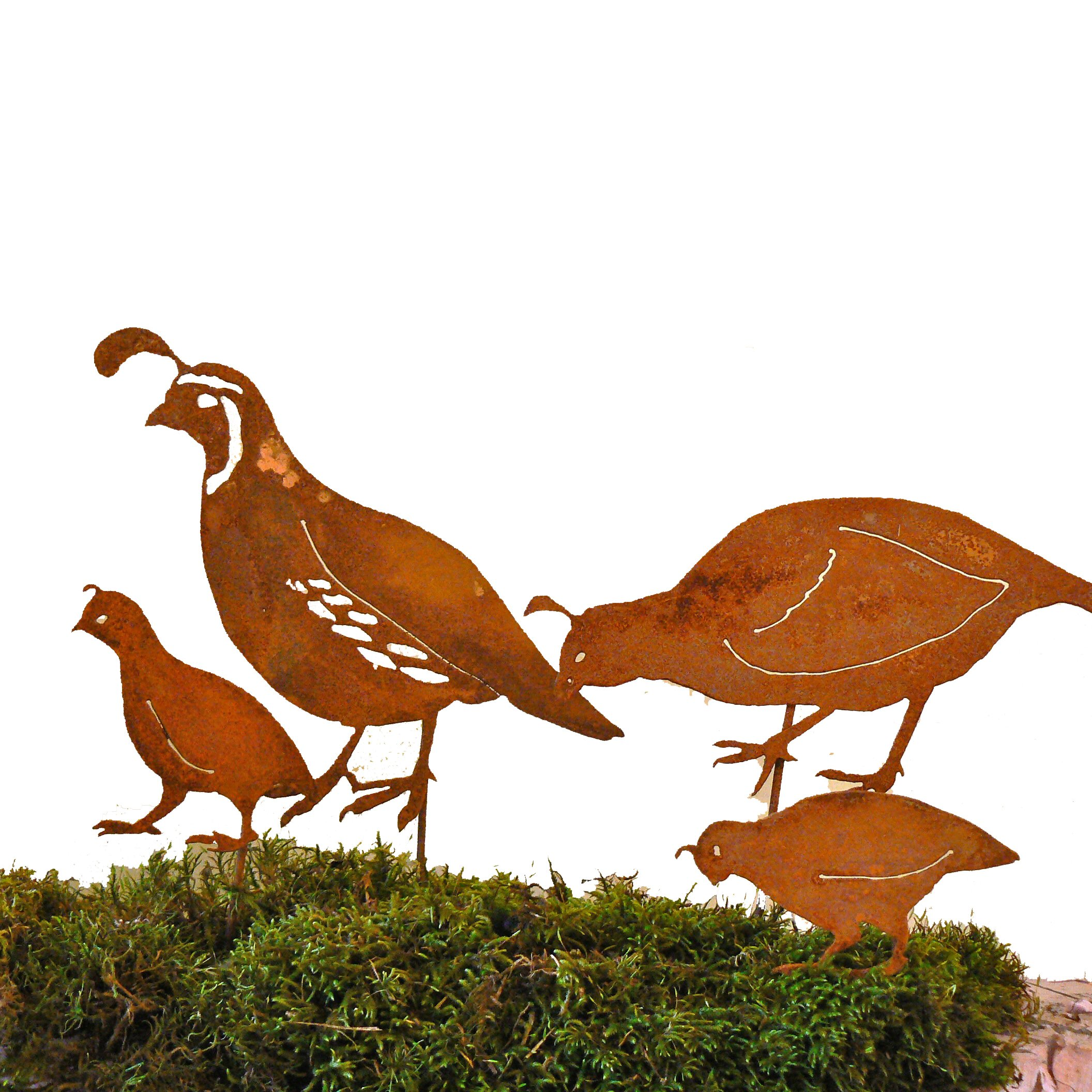 Elegant Garden Design California Quail Family Stake, Steel Silhouette with Rusty Patina