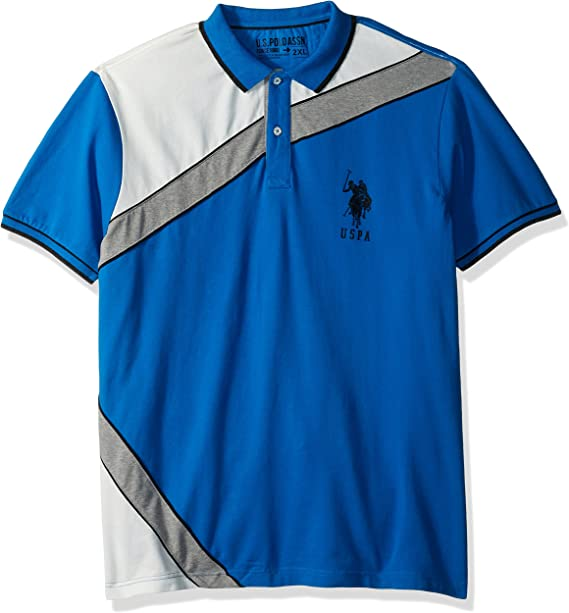 Polo Assn Mens Slim Fit Color Block Short Sleeve Poly Jersey Polo Shirt U.S
