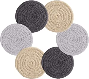6 Pcs Coasters For Drinks Farmhouse Fabric Braided Absorbent Coasters For Wooden Table 4.3 Inch