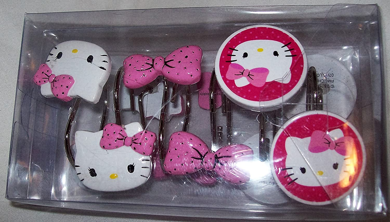 Hello kitty shower curtain rings - Amazon Com Hello Kitty Dots J Adore Shower Curtain Hooks Home Kitchen