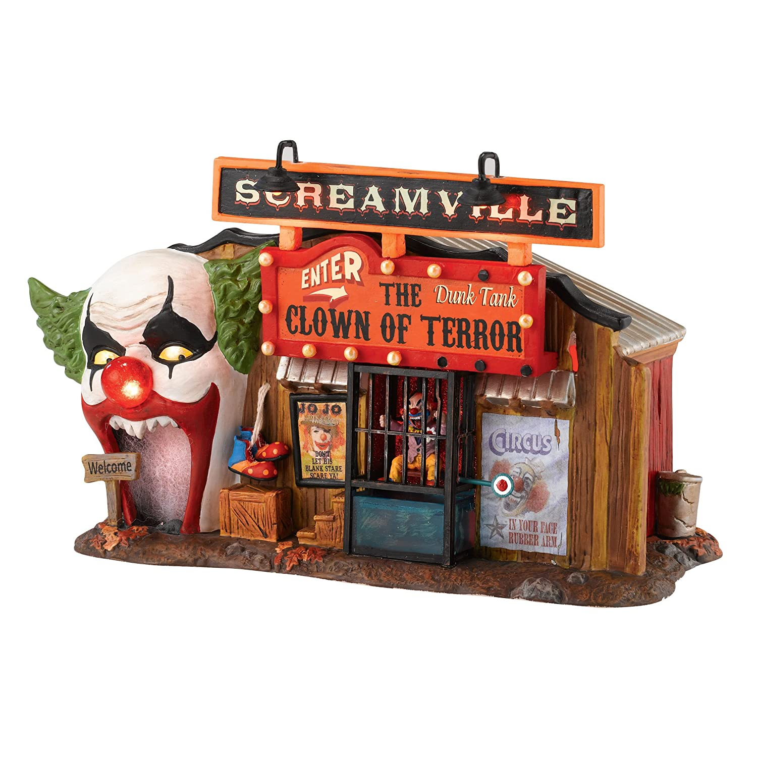 amazoncom department 56 snow village halloween clown house of terror lit building 559 inch home kitchen