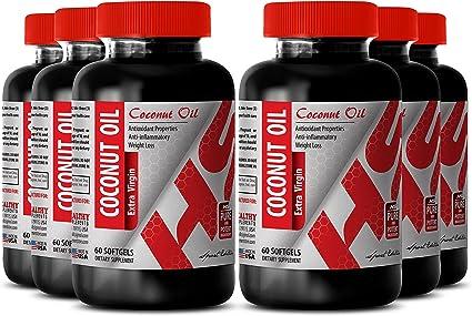 Aceite De Coco Pastillas Para Memoria Purificada Aceite De Coco Virgen Extra 3000 Mg Aumenta El Sistema Inmunológico 6 Botellas Health Personal Care