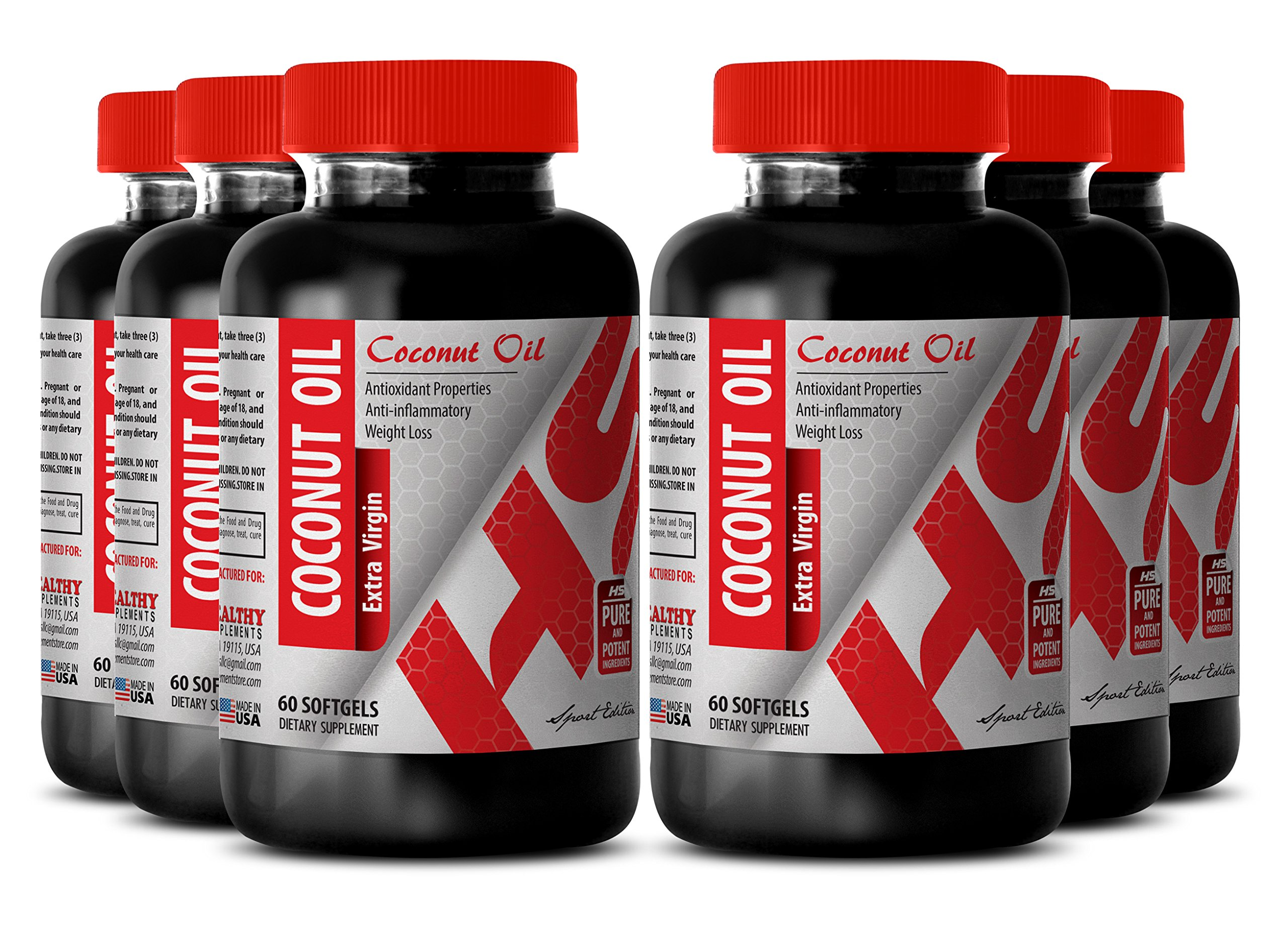 Coconut oil pills organic- PURIFIED COCONUT OIL EXTRA VIRGIN 3000 MG - increase performance (6 Bottles) by Healthy Supplements LLC